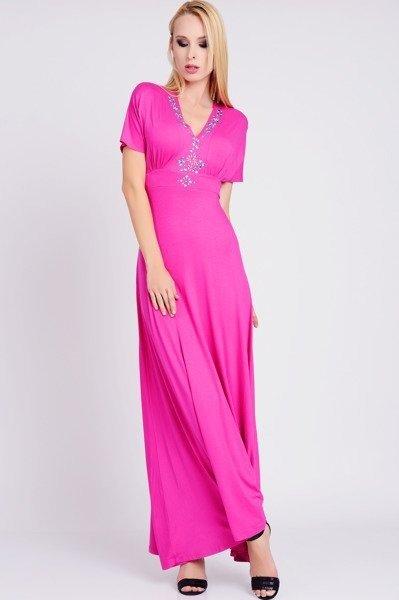 a2ddcc1fd4 ... Długa sukienka z dzianiny w kolorze fuksji - REMIA ...