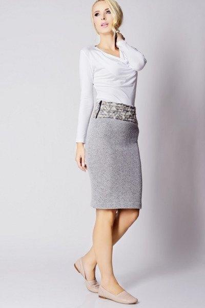 7bd3ecc935 Ołówkowa spódnica z wysokim stanem przed kolano z wełny - elegancka ...